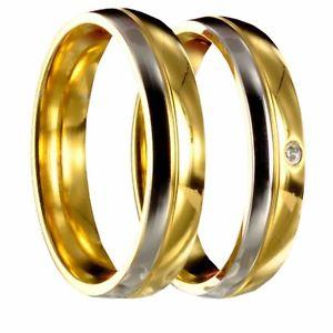 【送料無料】ブレスレット ステンレススチール2 bicolore in acciaio inossidabile di fidanzamento fedi vere fedi nuziali incl incisione interna 40168
