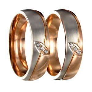 【送料無料】ブレスレット ステンレススチールピンクゴールドシルバーリング2 in acciaio inossidabile bicolore oro rosaargento fidanzamento fedi nuziali incisione interna 5006