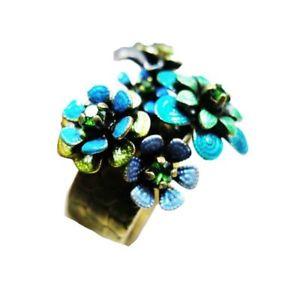 【送料無料】ブレスレット リングkonplott mille fleurs anello verde blu in ottone 0099