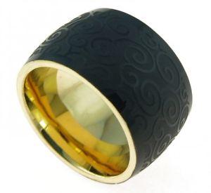 【送料無料】ブレスレット メッキゴールドリングステンレスブラックコーティングanello in acciaio inossidabile doratonero rivestimento spiralmuster sr224