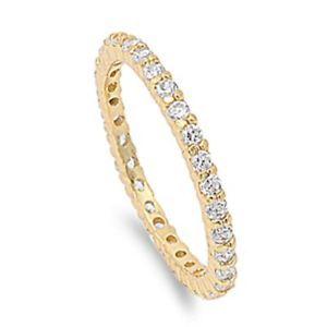 【送料無料】ブレスレット スターリングシルバーリングgiallo oro placcato argento sterling anello di fidanzamento cz eternity anello