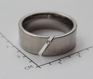 送料無料 ブレスレット ステンレススチールリングbellissimo anello in acciaio inossidabile con piccolo zirconiataglia 2166e122DeWIH29YEb