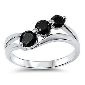 【送料無料】ブレスレット スターリングシルバーブラッククリアリングargento sterling nero e chiaro cz anello