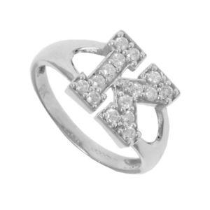 【送料無料】ブレスレット シルバーシールリングzirconi argento identit id con sigillo anello iniziale lettera k