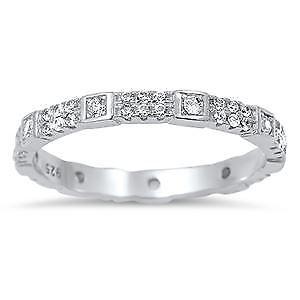 【送料無料】ブレスレット スターリングシルバーリングsterling silver cz eternity anello