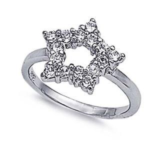 【送料無料】ブレスレット クリアリングargento sterling matrimonio amp; anello di fidanzamento chiaro cz star ring