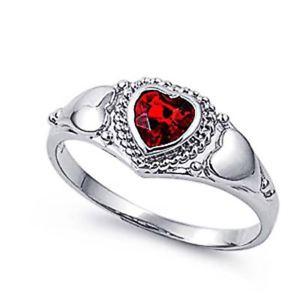【送料無料】ブレスレット ガーネットリングハートargento sterling matrimonio amp; granato anello di fidanzamento cz donna anello cuore