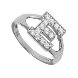 【送料無料】ブレスレット シルバーシールリングzirconi argento identit id con sigillo anello iniziale lettera e