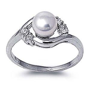 【送料無料】ブレスレット クリアパールリングargento sterling matrimonio amp; anello di fidanzamento chiaro cz, perla pearl ring mm