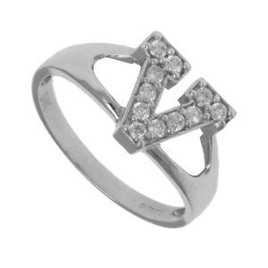 【送料無料】ブレスレット シルバーアイデンティティリングシールzirconi argento identit id iniziale anello con sigillo lettera v