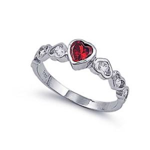 【送料無料】ブレスレット ガーネットクリアハートリングargento sterling matrimonio amp; granato anello di fidanzamento, chiaro cz cuore anello