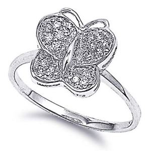 【送料無料】ブレスレット sterling silver wedding amp; engagement ring clear cz butterfly ring