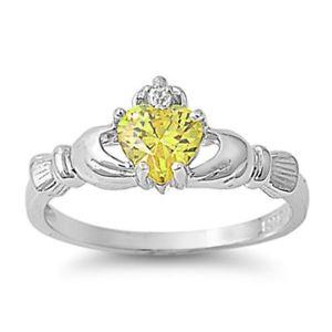 【送料無料】ブレスレット イエローッドクラダトパーズリングargento sterling matrimonio amp; anello di fidanzamento topazio giallo cz anello di claddagh