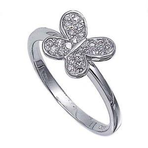 【送料無料】ブレスレット エンゲージリングスロットルクリアリングargento sterling matrimonio amp; anello di fidanzamento chiaro cz anello farfalla