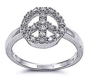 【送料無料】ブレスレット sterling silver wedding amp; engagement ring clear cz peace sign ring