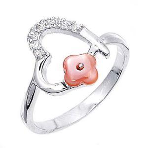【送料無料】ブレスレット エンゲージリングクリアハートフラワーリングargento sterling matrimonio amp; anello di fidanzamento chiaro cz cuore amp; fiore anello mm