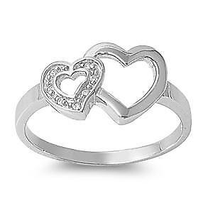 【送料無料】ブレスレット エンゲージリングダブルハートリングargento sterling matrimonio amp; anello di fidanzamento cz anello a doppio cuore