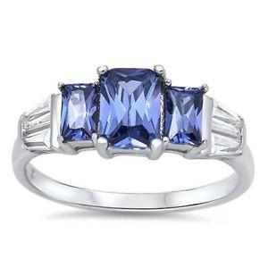 【送料無料】ブレスレット リングlittle treasures sterling silver cztanzanite 3 stone ring