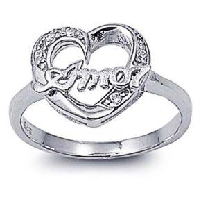 【送料無料】ブレスレット エンゲージリングクリアハートアモールリングargento sterling matrimonio amp; anello di fidanzamento chiaro cz cuore amor anello