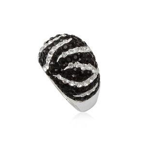 【送料無料】ブレスレット シルバーリングドームクリスタルanello dome zebrato in cristallo bianco e nero e argento 925