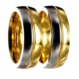 【送料無料】ブレスレット ステンレススチールリングシルバーゴールド2 anelli in acciaio inossidabile bicolori argentooro vere fedi nuziali incisione 20p176