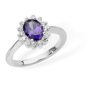 【送料無料】ブレスレット スターリングシルバーホワイトアメジストカラーリングargento sterling bianco e zirconi colore ametista anello