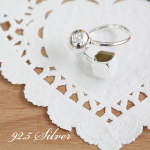 【送料無料】ブレスレット スターリングシルバーキューブオープンリングargento sterling 925 cubo e sfera anello aperto