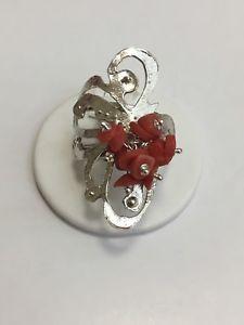 【送料無料】ブレスレット シルバーリングanello in argento con inserto in corallo misura 18