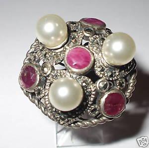 【送料無料】ブレスレット ルビーシルバーリングanello in argento 925 con rubini e perle naturali vedi