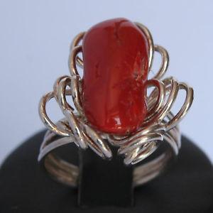 【送料無料】ブレスレット シルバーレッドコーラルリングanello da donna in argento 925‰ con corallo rosso