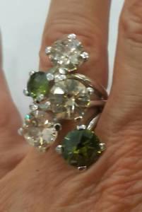 【送料無料】ブレスレット リングシルバーストローイエローグリーンミスリングシルバーanello donna argento 925, zirconi giallo paglierino e verdi mis 16 ring silver