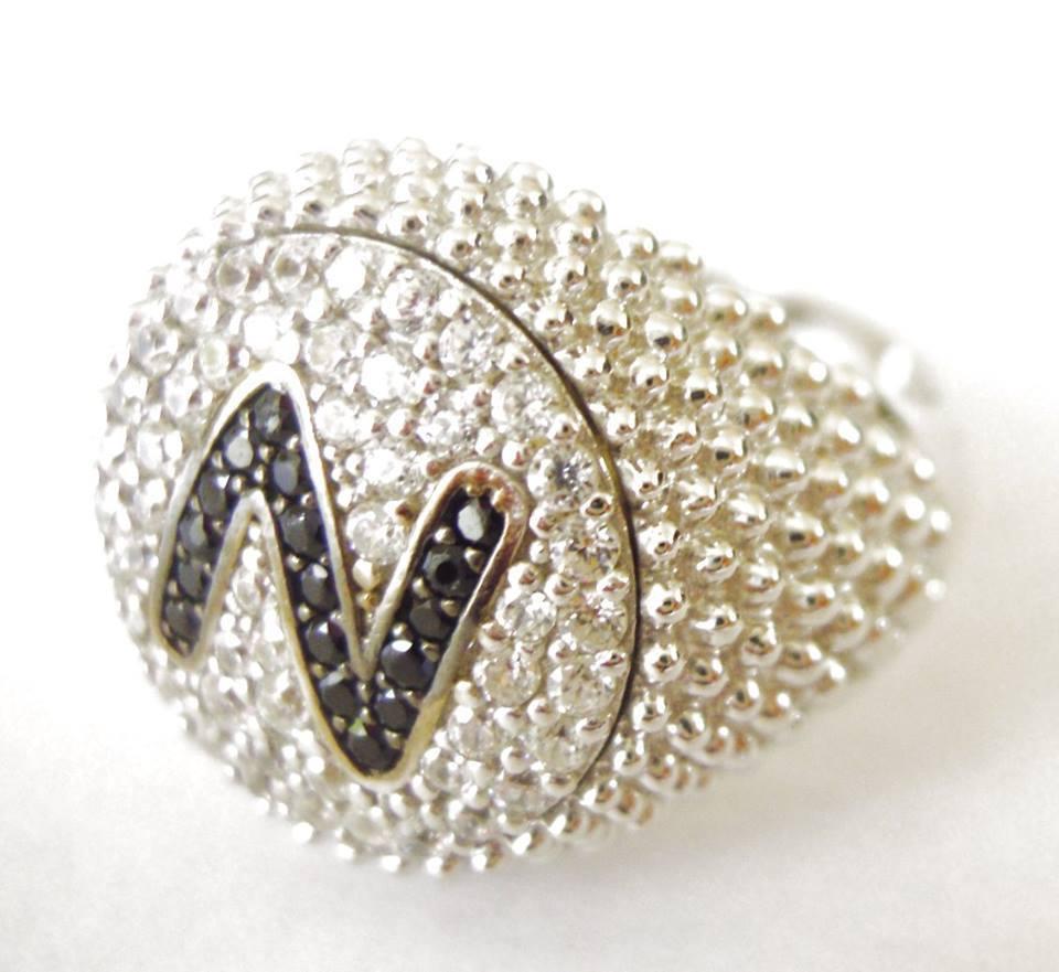 【送料無料】ブレスレット リングシルバーシルバーリングanello chevalier donna mignolo argento 925,iniziale pav artigianale,silver ring