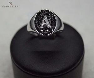 【送料無料】ブレスレット シルバーリングanello in argento con zirconi neri e bianchi con lettera a