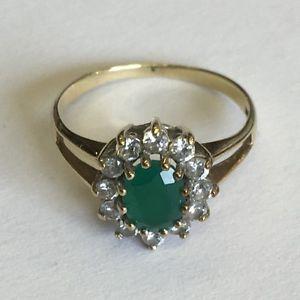 【送料無料】ブレスレット ソリッドビンテージゴールドエメラルドリングサイズvintage solido 9ct oro sintetica smeraldo e zirconi anello taglia k