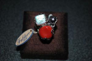 【送料無料】ブレスレット コーラルスターリングシルバーリングシルバーリングanello in argento con perle e corallo sterling silver ring with coral
