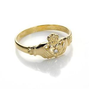 【送料無料】ブレスレット イエローゴールドッドクラダクリスタルサイズリング9ct yellow gold claddagh ring with crystal cz 9ct gold rings size k x