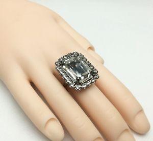 【送料無料】ブレスレット クリスタルクリスタルリング¥bella crystal by shourouk, rettangolo cristallo, anello uk k, us 55,eu 52 rrp 105