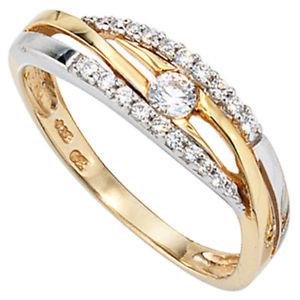 【送料無料】ブレスレット イエローゴールドホワイトゴールドリングanello da donna 333 oro giallo oro bianco bicolore con zirconi goldring