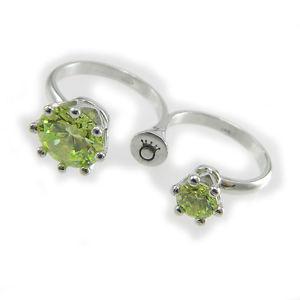 【送料無料】ブレスレット リングダブルフィンガーグリーンシルバーフレームle corone anello doppio dito twins zirconi verdi montatura argento 925
