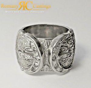 【送料無料】ブレスレット メンズスターリングシルバーダブルバックルリングプラチナgmens 925 sterling silver cz doppia fibbia anello platino immerso 21g 25 x 25 mm