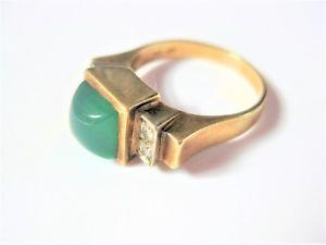 【送料無料】ブレスレット アールデコゴールドリングart deco anello oro 585 con crisoprasio e brillanti, 4,65 g