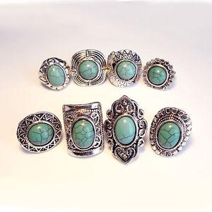 【送料無料】ブレスレット リングターコイズトルコビンテージジプシーヒッピーチベットリングtre anelli turchese bohovintage gypsy hippy tibet polliceazteco bohemien anello