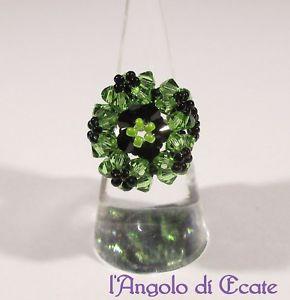 【送料無料】ブレスレット リングスワロフスキービーズnuova inserzioneidea regalo anello donna artigianale nero verde cristalli swarovski perline