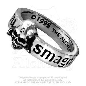 【送料無料】ブレスレット リングピューターalchemy r36 anello a fedina con teschio e iscrizioni great wish in peltro