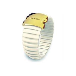 【送料無料】ブレスレット リングヒップホップアイコンシリコーンホワイトバニラスチールanello donna hip hop icon hj0099 silicone bianco vaniglia acciaio gold misura l