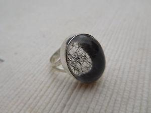 【送料無料】ブレスレット アルジェントカボションルチルドノワールbague plaqu argent cabochon ovale rutile de quartz noir taille 59 7grs b1069