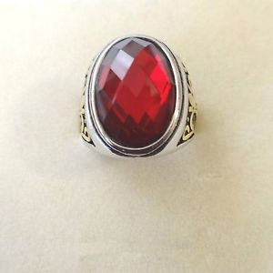 【送料無料】ブレスレット リングルビーオーバルゴールドanello uomo monsignore in acciaio e oro con grande rubino rosso ovale 67 r