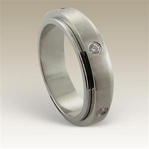 【送料無料】ブレスレット スチールリング girevole anello in acciaio chirurgico con 6 cristalli db ra 6020