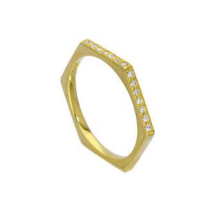 【送料無料】ブレスレット スターリングシルバーゴールドクリアリングサイズgold immerso in argento sterling amp; cancella cz cristalli anello esagonale dimensione o geometric