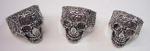 【送料無料】ブレスレット スチールリングスカルメキシコanello in acciaio skull teschio messicano  misura dito 26